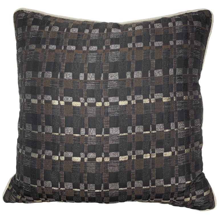 Square Throw Pillow in Dedar Reversi and Artemis Fabrics For Sale