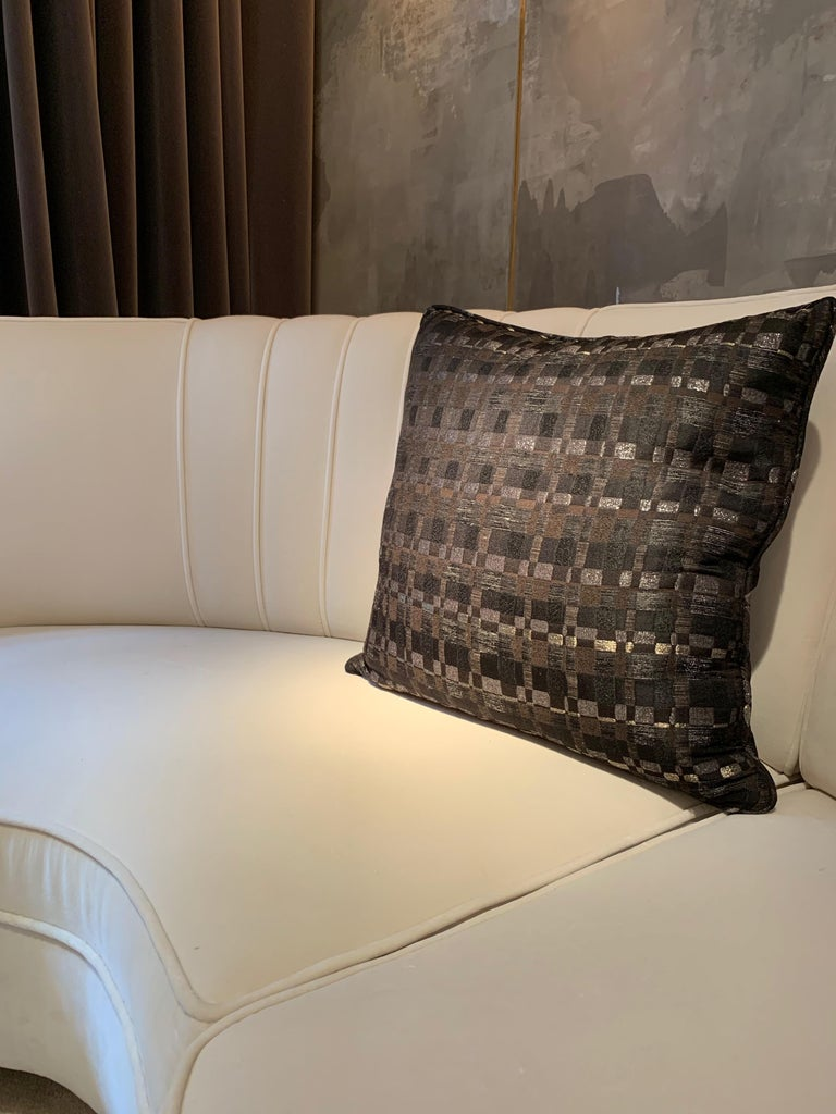 Square Throw Pillow in Dedar Reversi Fabric In Excellent Condition For Sale In London, GB