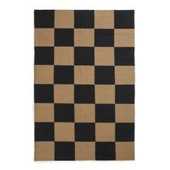 Square Tobacco, Modern Dhurrie/Kilim Rug in Scandinavian Design