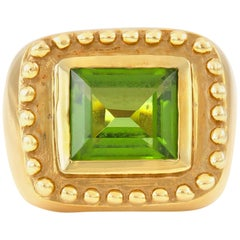 Square Tourmaline Gold Cocktail Ring