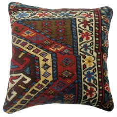 Square Traditional Antique Caucasian Red Blue Tribal Kazak Rug Pillow