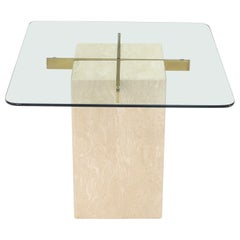 Square Travertine Base Glass Top Side End Table