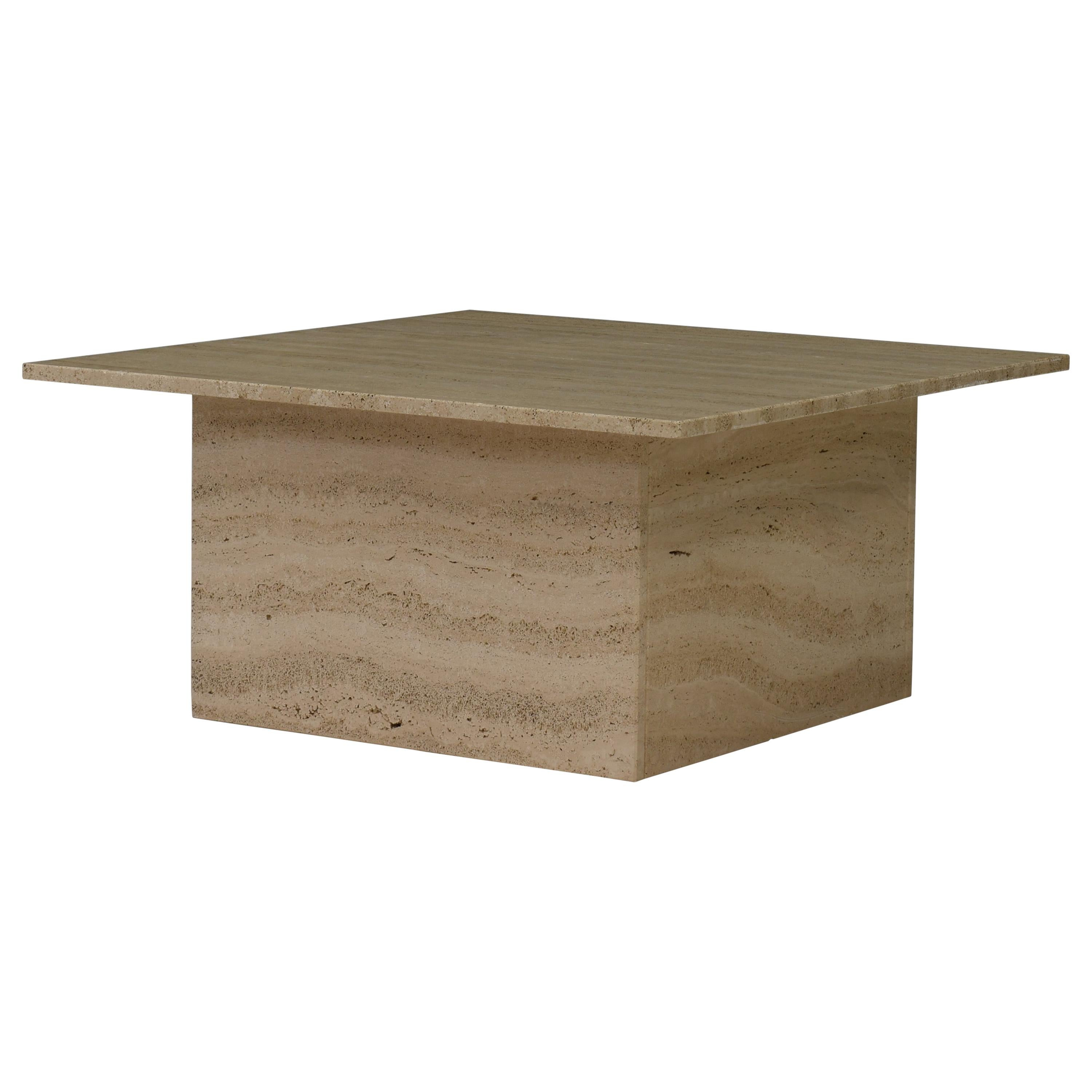 Square Travertine Coffee Table in the style of Up&Up Mangiarotti, Italy, 1970