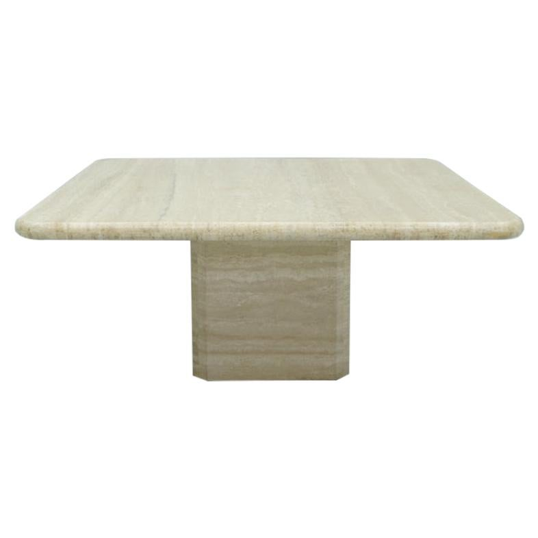 Square Travertine Coffee Table, Italy, 1970s