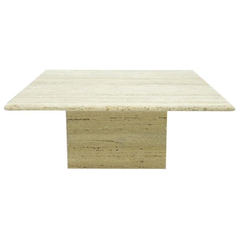 Square Travertine Coffee Table Italy 1970s Stone Marble