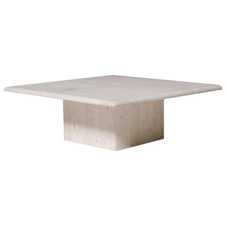 Square Travertine Coffee Table With Block Base At 1stdibs