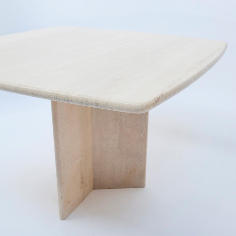 Mid-Century Modern Square Travertine Dining or Cocktail Table, 1970s For Sale