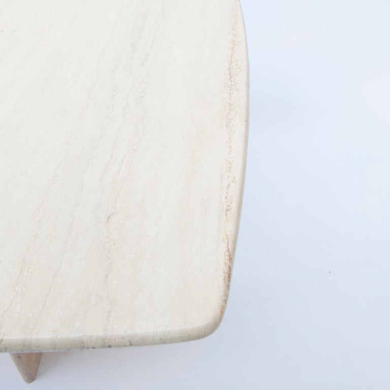 Italian Square Travertine Dining or Cocktail Table, 1970s For Sale