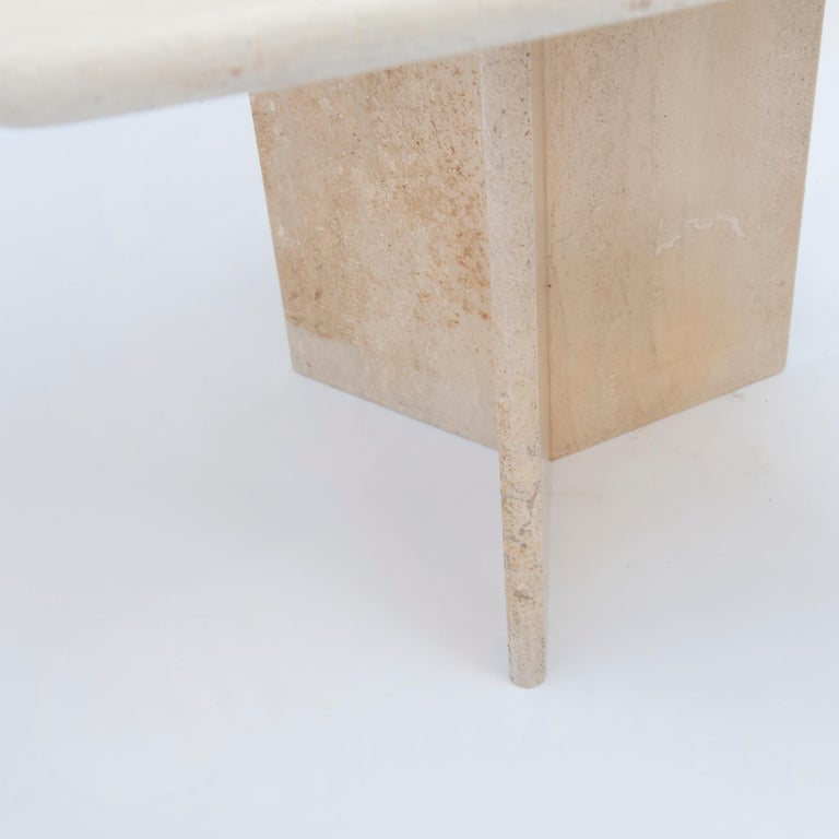 Square Travertine Dining or Cocktail Table, 1970s In Good Condition For Sale In AMSTERDAM, NL