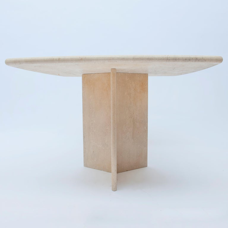 20th Century Square Travertine Dining or Cocktail Table, 1970s For Sale