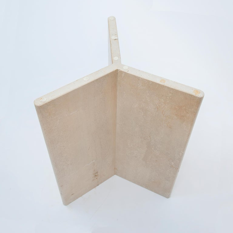Square Travertine Dining or Cocktail Table, 1970s For Sale 1