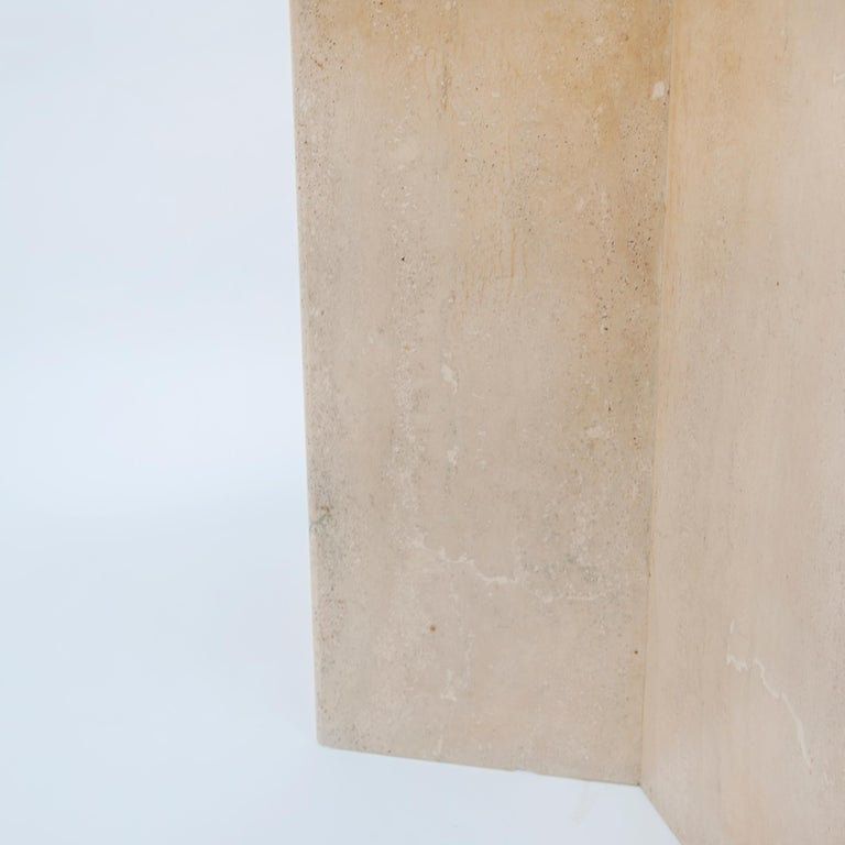 Square Travertine Dining or Cocktail Table, 1970s For Sale 2