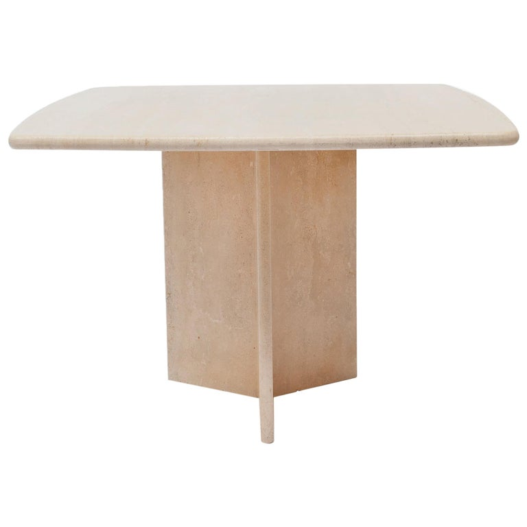 Square Travertine Dining or Cocktail Table, 1970s For Sale