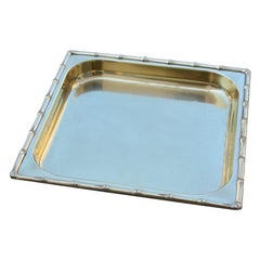 Square Tray in Solid Brass Italian Design with Raised Bamboo, 1970s