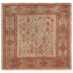 Square Tribal Antique Turkish Ghiordes Rug. 4 ft x 4 ft 2 in