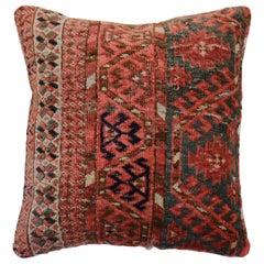 Square Tribal Antique Turkeman Rug Pillow