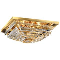 Square Triedi Murano Glass Contemporary Flush Mount or Ceiling Light