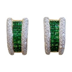 "Square Tsavorite and Pave Diamond ""J"" Omega Earrings 18 Karat Yellow Gold"