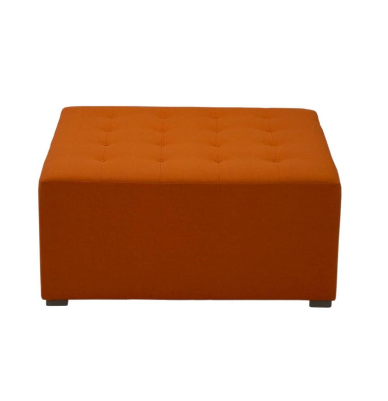American Large Square Button Tufted Ottoman, Custom For Sale