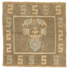 Square Turkish Donegal Rug with Blue and Beige Botanical Pattern