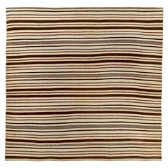 Square Turkish Kilim Rug with Brown and Red Stripes on Ivory Field