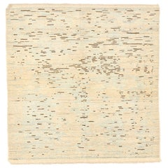 Square Turkish Rug in Sultanabad Weaving with Brown and Gray Lines