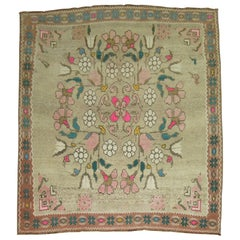 Square Turkish Rug Influenced by Besserabian Kilims