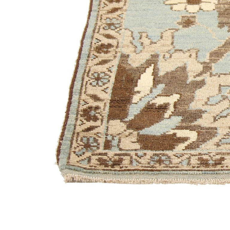Square Turkish Sultanabad Style Rug with Ivory and Brown Botanical Details In New Condition For Sale In Dallas, TX