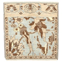 Square Turkish Sultanabad Style Rug with Ivory and Brown Botanical Details