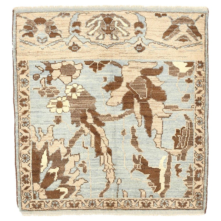 Square Turkish Sultanabad Style Rug with Ivory and Brown Botanical Details For Sale