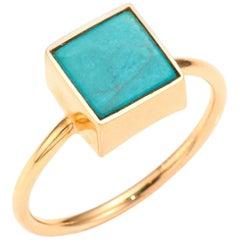 Square Turquoise and Rose Gold 18 Karat Fashion Ring