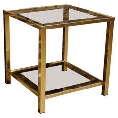 Square Two-Tier 23-Carat Gold Plated Modern Regency Side Table by Belgo Chrom