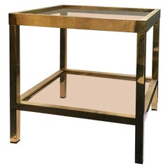 Square Two-Tier Brass Side Table with Tinted Glass Shelves, European, 1970s
