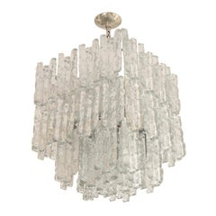 Square Two-Tier Chandelier Composed of Ice Inspired Glass Elements