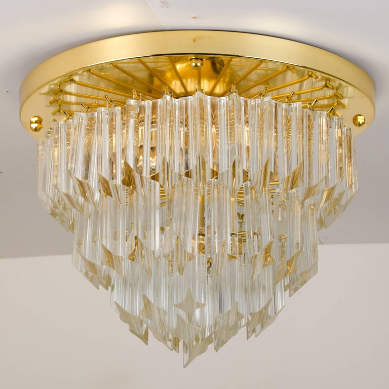 Square Venini Oval Shaped Gilt-Plated Flush Mount, Italy For Sale 6
