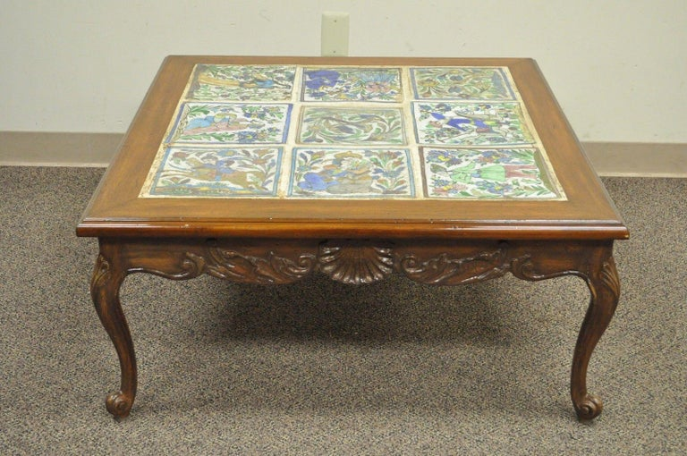 Magnificent Square Vintage French Country Louis Xv Carved Walnut Tile Top Coffee Table Ncnpc Chair Design For Home Ncnpcorg