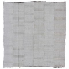 Square Vintage Paneled Flat-Weave with Modern Design in White and Neutral Tones