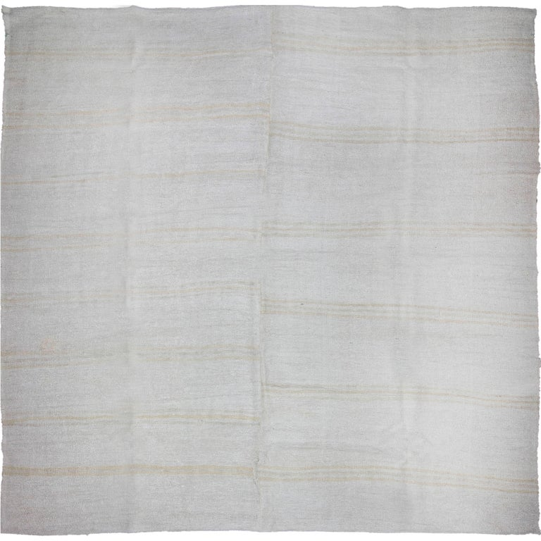 Vintage Turkish Flat Weave Rug: Square Vintage Turkish Flat-Weave Hemp Rug For Sale At 1stdibs
