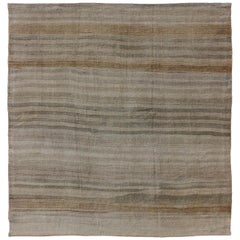 Square Vintage Turkish Flat-Weave Striped Kilim in Taupe Colors