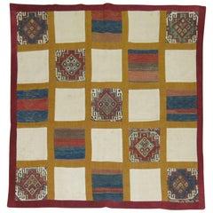Square Vintage Turkish Patchwork Kilim
