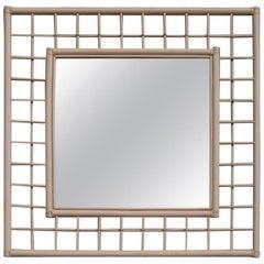Square Vivai del Sud Great Mirror Italian Design 1970s Lacquered White