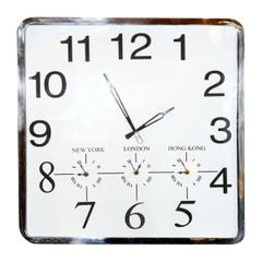 Square Wall Clock with Four Time Options