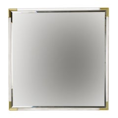 Square Wall Mirror with Lucite Frame, Golden Corners, Signed, Italy, 1970s