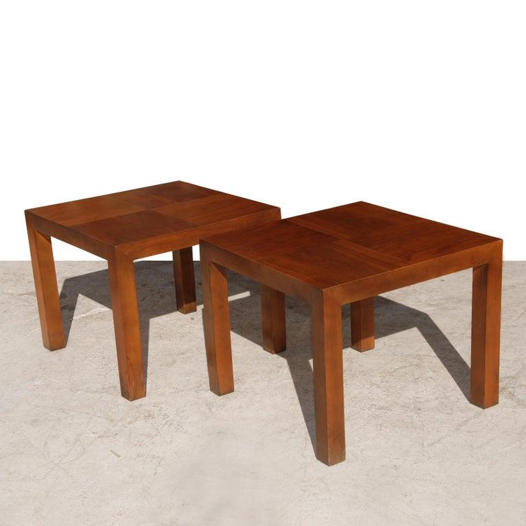 Pair of vintage modern end tables features a two ton unique walnut style wood grain top. Made by Lane Furniture Company.