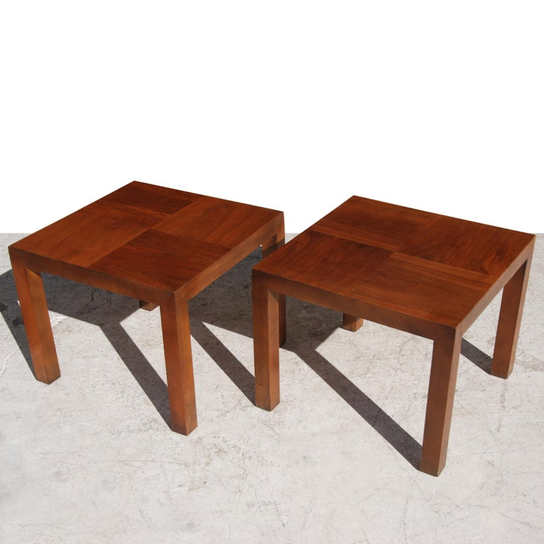 Mid-Century Modern Square Walnut End Tables by Lane Furniture For Sale