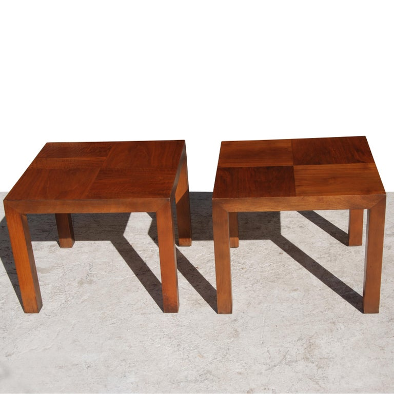 American Square Walnut End Tables by Lane Furniture For Sale