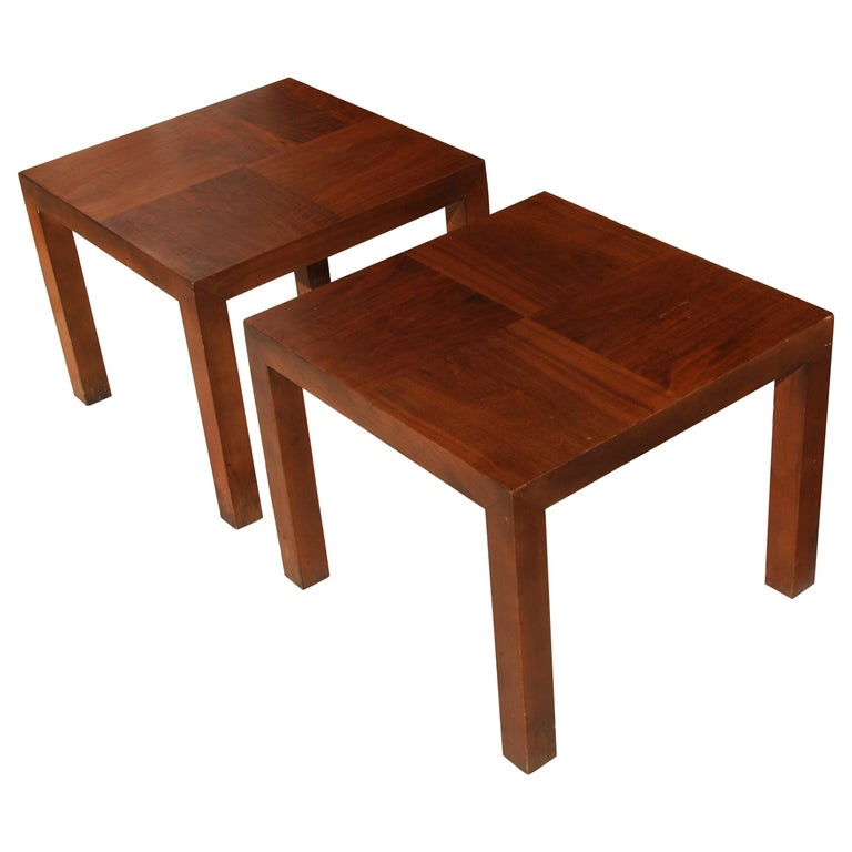 Square Walnut End Tables by Lane Furniture For Sale