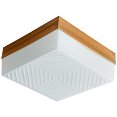 Square White Glass Flush Mount with Wood Collar and Diamond Pattern