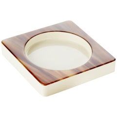 Square Wine Bottle Coaster in Corno Italiano and Ivory Lacquered Wood, Mod. 226