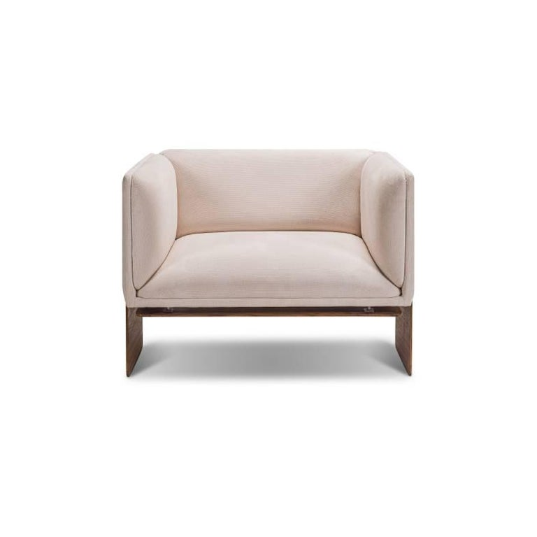 Brazilian Square with Base Coated in Wood - Koana Armchair For Sale